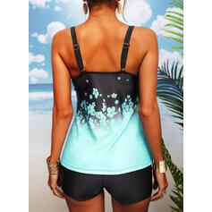 Print Strap U-Neck Sports Plus Size Casual Tankinis Swimsuits