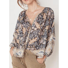 Print V-Neck Lantern Sleeve Long Sleeves Button Up Casual Blouses