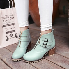 Women's Leatherette Chunky Heel Flats Closed Toe Boots With Buckle Zipper shoes