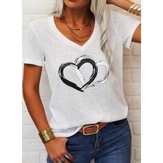 Καρδιά Minta V-nyak Rövidujjú Μπλουζάκια