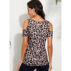 leopárd Açık Omuzlu Kısa kollu Günlük Blúzok