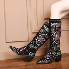 Women's Suede Chunky Heel Knee High Boots Snow Boots With Buckle Faux-Fur shoes