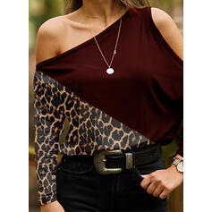 Color Block Leopard One-Shoulder Long Sleeves Casual Blouses