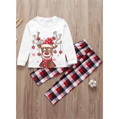 Rensdyr Plaid Cartoon Familie Matchende Jul Pyjamas
