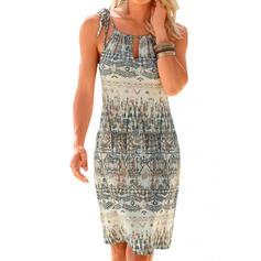 Print Sleeveless Sheath Above Knee Casual/Boho Slip Dresses