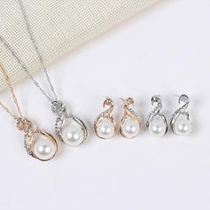 Shining Alloy Rhinestones Imitation Pearls With Imitation Pearl Rhinestone Women's Jewelry Sets (Set of 2)