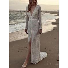Sequins Long Sleeves Sheath Maxi Party/Elegant Dresses