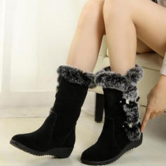 Women's PU Wedge Heel Snow Boots With Buckle shoes