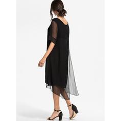 Sólido Mangas 1/2 Tendencia Hasta la Rodilla Pequeños Negros/Casual/Elegante Vestidos