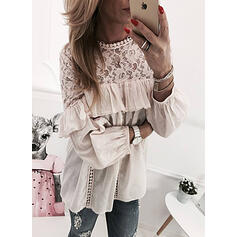 Solid Lace Ruffles Round Neck Long Sleeves Casual Blouses