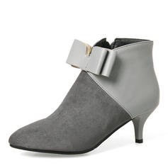 Femmes Suède Talon stiletto Escarpins Bout fermé Bottes Bottes mi-mollets avec Bowknot Zip chaussures