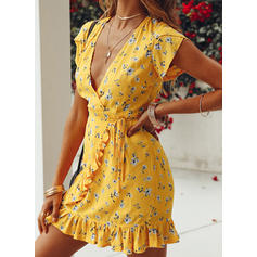 Print/Floral Short Sleeves Sheath Above Knee Casual Wrap Dresses