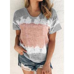 Estampado Gola Redonda Manga Curta Casual Camisetas regata