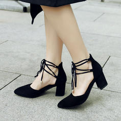 Women's Suede Chunky Heel Sandals Pumps Closed Toe With Buckle Lace-up shoes