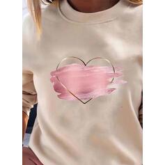 Imprimée Cœur Col Rond Manches Longues Décontractée T-shirts