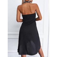 Sólido/Con cuentas/Escotado por detrás Sin mangas Tendencia Sobre la Rodilla Pequeños Negros/Casual Vestidos