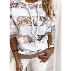 Print Color Block Floral Long Sleeves Hoodie