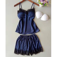 V-Neck Strap Sleeveless Solid Color Fashionable Party Cami & Short Sets