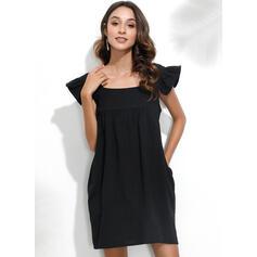 Jednolita Krótkie rękawy Koktajlowa Nad kolana Casual Sukienki