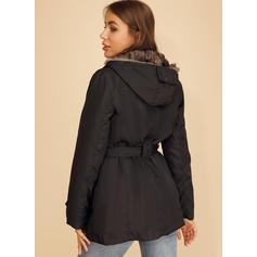 Polyester Uzun kollu Sade harman ceket