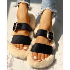 Donna Velluto Senza tacco Ciabatte con Fibbia Pelliccia Solido scarpe