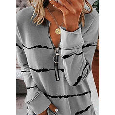 Wydrukować Dekolt w kształcie litery V Długie rękawy Bluza
