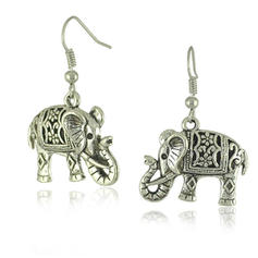 Holy Elephant Tibetan Silver Ladies' Fashion Earrings