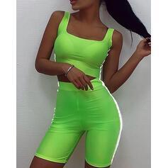Strap Cap Sleeves Solid Color Top & Short Sets