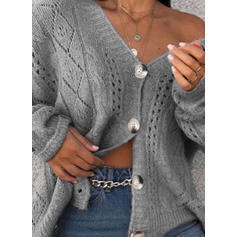 Solid Cable-knit V-Neck Cardigan