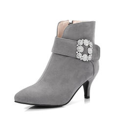 Women's Suede Stiletto Heel Pumps Ankle Boots With Rhinestone shoes