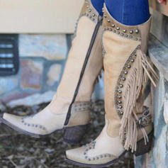 Women's PU Chunky Heel Boots Mid-Calf Boots With Rivet Buckle shoes
