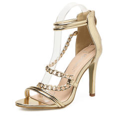 Women's Patent Leather Stiletto Heel Sandals Pumps Peep Toe With Zipper shoes