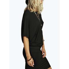 Solide Korte Mouwen Bodycon Knielengte Zwart jurkje/Casual/Elegant Jurken