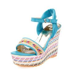 Frauen PU Keil Absatz Absatzschuhe Keile mit Schnalle Schuhe