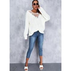Einfarbig Rundhalsausschnitt Lässige Kleidung Pullover
