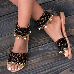 Vrouwen PU Flat Heel Sandalen Peep Toe Slippers met Imitatie Parel Dier Afdrukken schoenen