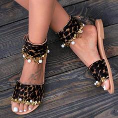 Women's PU Flat Heel Sandals Peep Toe Slippers With Imitation Pearl Animal Print shoes