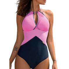 Splice color Strapless Fashionable Beautiful One-piece Swimsuits