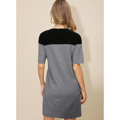 Color Block 1/2 Sleeves Sheath Above Knee Casual Sweater Dresses
