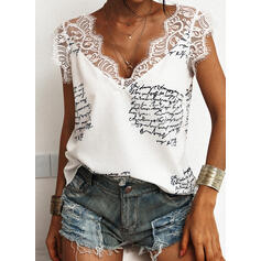 Print Lace Letter V-Neck Sleeveless Casual Tank Tops