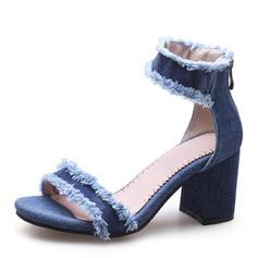Pentru Femei Blug Toc gros Sandale Încălţăminte cu Toc Înalt Puţin decupat în faţă cu Altele pantofi