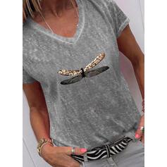 Mit Tierdruck V-Ausschnitt Kurze Ärmel T-Shirts