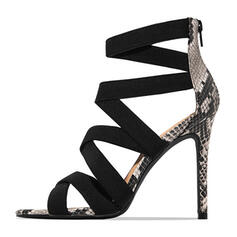 Women's PU Stiletto Heel Sandals Pumps Peep Toe With Animal Print Zipper shoes