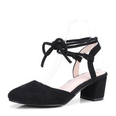 Women's Suede Chunky Heel Sandals Pumps Slingbacks With Lace-up shoes