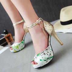 Femmes Similicuir Talon stiletto Sandales Escarpins À bout ouvert avec Strass Boucle Autres chaussures
