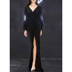 Solid Long Sleeves Sheath Maxi Party/Elegant Dresses