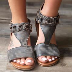 Femmes Similicuir Talon plat Sandales Chaussures plates À bout ouvert avec Boucle chaussures