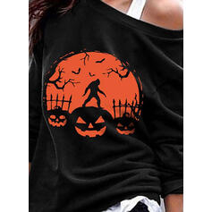 Halloween Tisk Animal Jedno rameno Dlouhé rukávy Hanorac