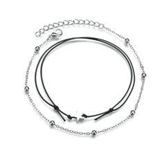 Simple Alliage Corde en cuir avec Étoile Bijoux de plage Bracelets de cheville (Lot de 2)