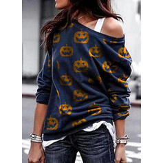Print Halloween One Shoulder Langermer Genser